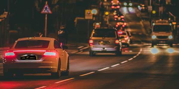 driving at night through leeds
