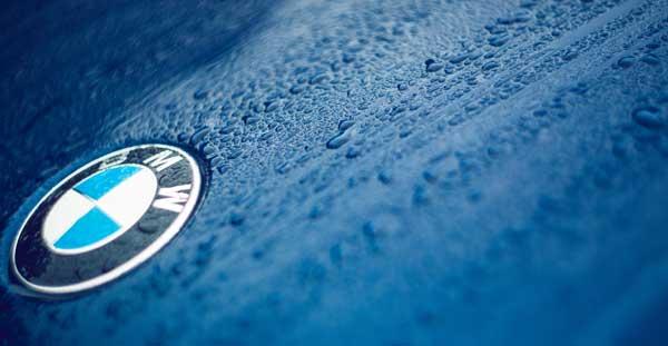wet blue BMW Paintwork